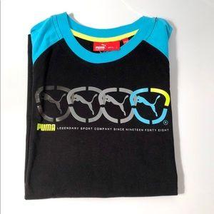 Puma Boys T-shirts Black & Turquoise Size L New